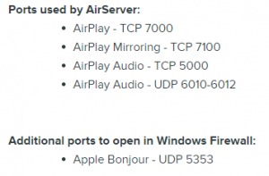 AirServer Ports